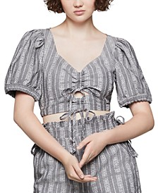 Cotton Printed Puff-Shoulder Cropped Top