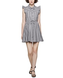 BCBGeneration Cotton Striped Fit & Flare Dress