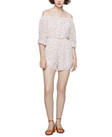 BCBGeneration Dot-Print Off-The-Shoulder Romper