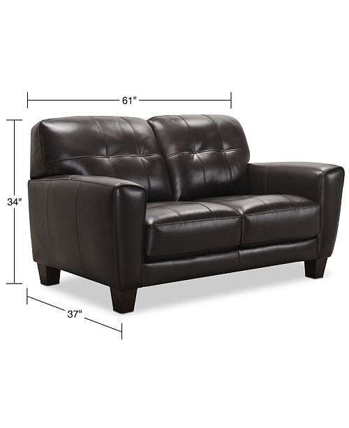Fine Kaleb 61 Tufted Leather Loveseat Created For Macys Ncnpc Chair Design For Home Ncnpcorg