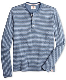 Brooks Brothers Men's Red Fleece Regular-Fit Striped Henley Long-Sleeve T-Shirt
