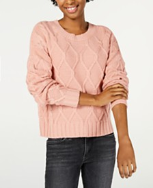 Ultra Flirt Juniors' Marled Cable-Knit Sweater