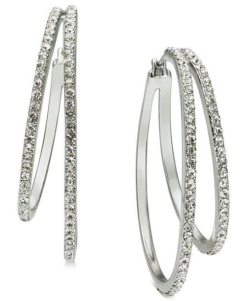 INC International Concepts INC Silver-Tone Pavé Double Hoop Earrings, Created for Macy's