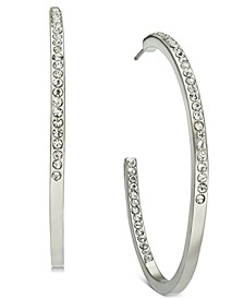 Charter Club Silver-Tone Crystal Hoop Earrings, Created for Macy's