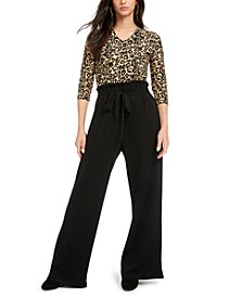 Juniors' Paperbag-Pant Jumpsuit