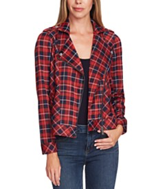 Vince Camuto Plaid Moto Jacket