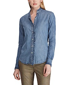 Ruffle-Trim Cotton Denim Shirt