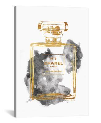 "Perfume Bottle, Gold & Grey by Amanda Greenwood Wrapped Canvas Print - 40"" x 26"""
