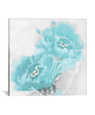 """Flower Bloom In Aqua I by Jesse Stevens Wrapped Canvas Print - 18"""" x 18"""""""