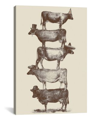 """Cow Cow Nuts by Florent Bodart Wrapped Canvas Print - 40"""" x 26"""""""