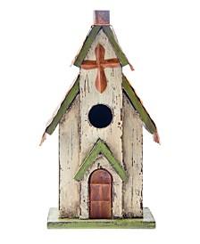 Glitzhome Distressed Solid Wood Church Birdhouse KD