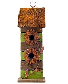 Hanging Two-Tiered Distressed Solid Wood Birdhouse with Flowers