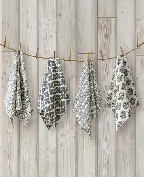 Elrene Everyday Casual Prints Assorted Indigo Cotton Fabric Kitchen Towels - Set of 4