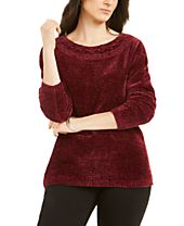 Karen Scott Boat-Neck Chenille Sweater, Created for Macy's