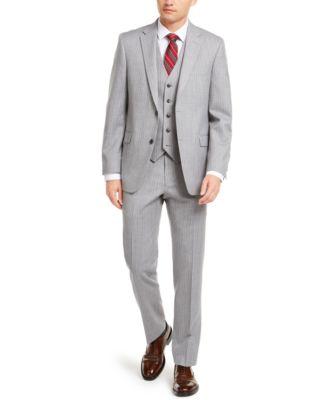 Men's Modern-Fit THFlex Stretch Gray/White Stripe Suit Separate Jacket