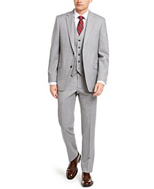Men's Modern-Fit THFlex Stretch Gray/White Stripe Suit Separates