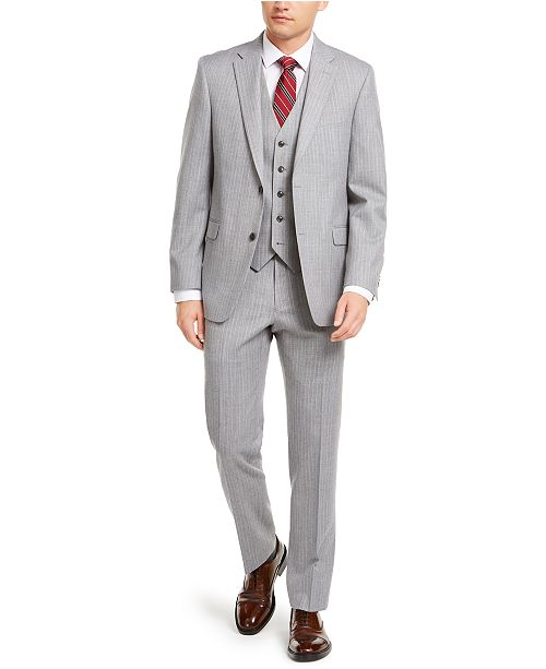 Tommy Hilfiger Men's Modern-Fit THFlex Stretch Gray/White Stripe Suit Separates