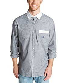 Men's Classic-Fit Blue Sail Oxford with Map Graphic Shirt, Created for Macy's