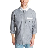 Nautica Men's Classic-Fit Blue Sail Oxford with Map Graphic Shirt