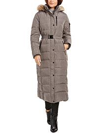 Michael Michael Kors Belted Faux-Fur Trim Hooded Maxi Down Coat