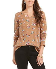 Petite Printed Cotton Thermal Top, Created for Macy's