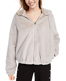 Juniors'  Reversible Cropped Hooded Faux-Fur Coat