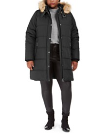 Maralyn & Me Juniors' Plus Size Faux-Fur-Trim Hooded Puffer Coat