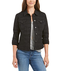Petite Plaid Denim Jacket, Created For Macy's