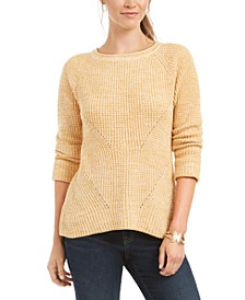 Plus Size Marl Pointelle Cuffed Sweater, Created For Macy's