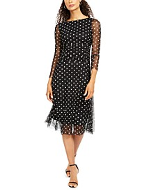 Petite Polka-Dot Mesh Midi Dress