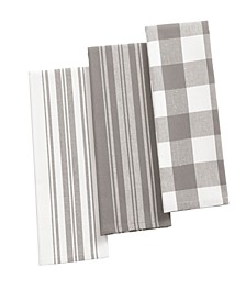 Farmhouse Living Stripe and Check Kitchen Towels - Set of 3