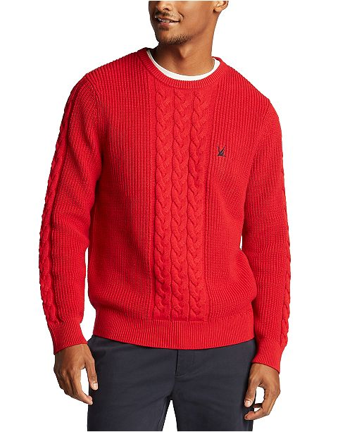 Nautica Men's Blue Sail Classic-Fit Cable Knit Sweater, Created for Macy's