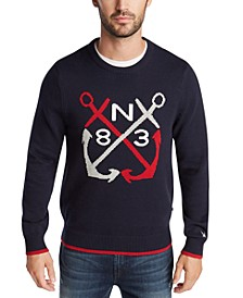 Men's Blue Sail Classic-Fit Anchor Graphic Sweater, Created for Macy's