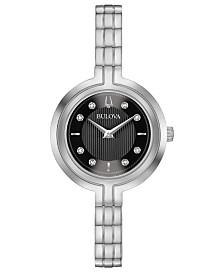 Bulova Women's Rhapsody Diamond-Accent Stainless Steel Bracelet Watch 30mm