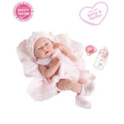 "La Newborn 15"" Real Girl Baby Doll Pink Striped Pajama"