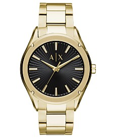 A|X Armani Exchange Men's Fitz Gold-Tone Stainless Steel Bracelet Watch 44mm