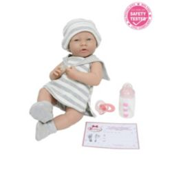 """La Newborn15"""" Real Girl Baby Doll Grey Striped Outfit"""