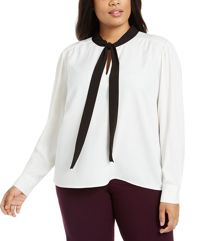 Calvin Klein Plus Size Tie-Neck Top