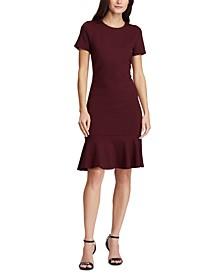 Button-Trim Flounce-Hem Dress
