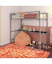 Mason Metal Twin Loft Bed with Desk