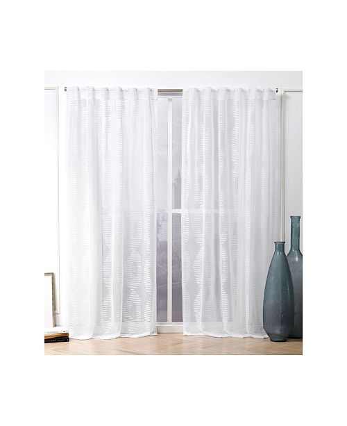 "Nicole Miller Odense Sheer Abstract Hidden Tab Top Curtain Panel Pair, 54"" X 96"""