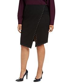 Plus Size Studded Asymmetrical Skirt
