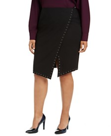 Calvin Klein Plus Size Studded Asymmetrical Skirt