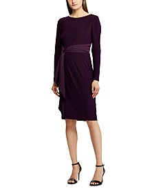 Lauren Ralph Lauren Petite Satin-Trim Long-Sleeve Jersey Dress