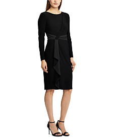 Lauren Ralph Lauren Petite Satin-Trim Long-Sleeve Jersey Dress