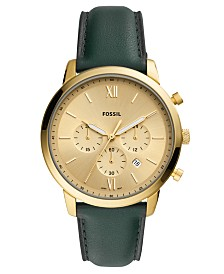 Fossil Men's Chronograph Neutra Green Leather Strap Watch 44mm