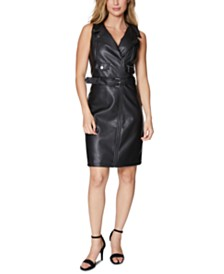 Laundry by Shelli Segal Faux-Leather Moto Jacket Dress