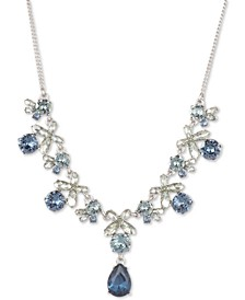 "Crystal Flower Statement Necklace, 16"" + 3"" extender"