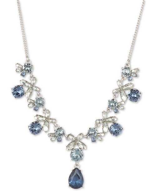 """Givenchy Crystal Flower Statement Necklace, 16"""" + 3"""" extender"""