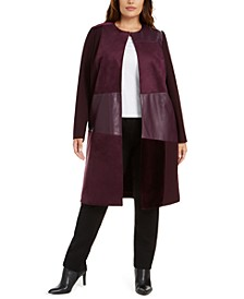 Plus Size Mixed-Media Long Jacket
